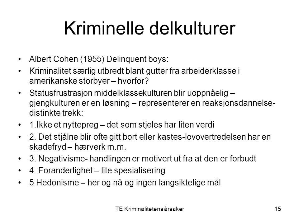 TE Kriminalitetens årsaker15 Kriminelle delkulturer Albert Cohen (1955) Delinquent boys: Kriminalitet særlig utbredt blant gutter fra arbeiderklasse i
