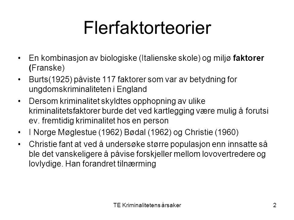 TE Kriminalitetens årsaker2 Flerfaktorteorier En kombinasjon av biologiske (Italienske skole) og miljø faktorer (Franske) Burts(1925) påviste 117 fakt