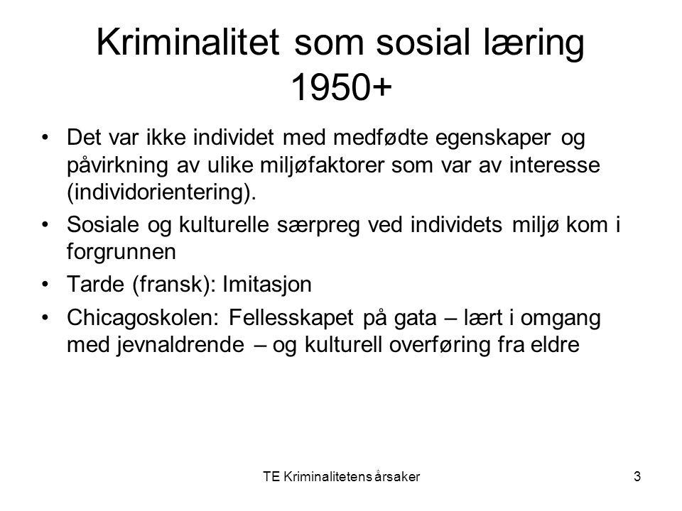 TE Kriminalitetens årsaker3 Kriminalitet som sosial læring 1950+ Det var ikke individet med medfødte egenskaper og påvirkning av ulike miljøfaktorer s