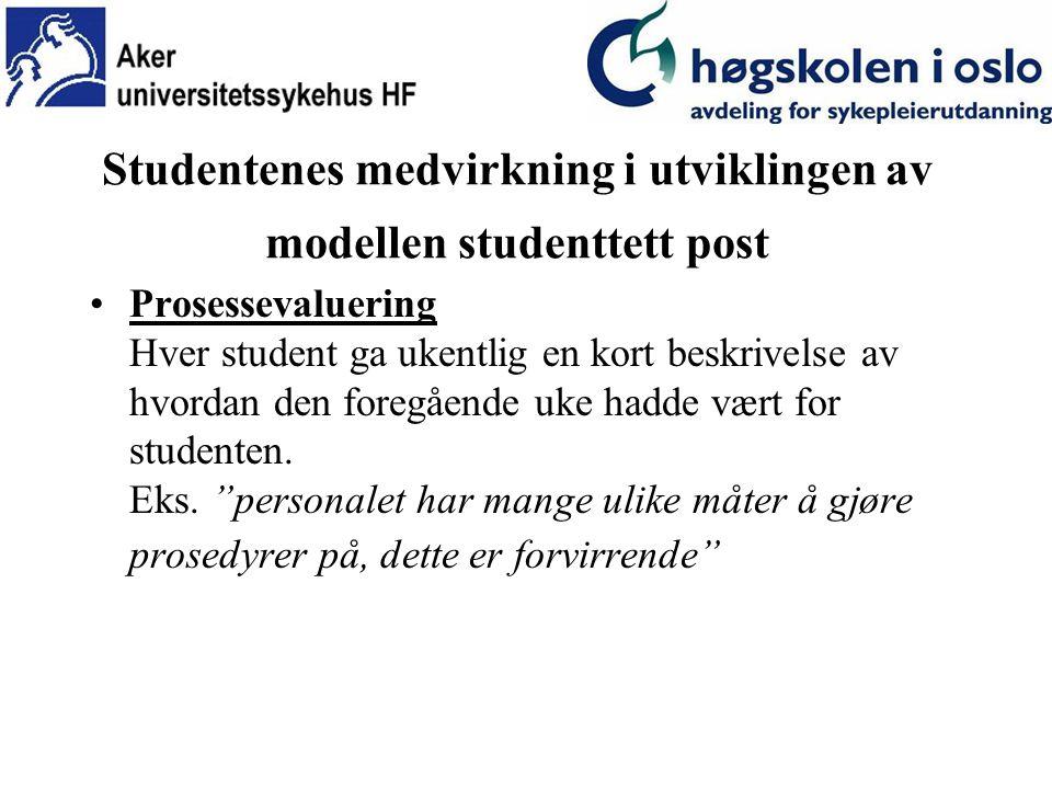 Studentenes medvirkning i utviklingen av modellen studenttett post Prosessevaluering Hver student ga ukentlig en kort beskrivelse av hvordan den foregående uke hadde vært for studenten.