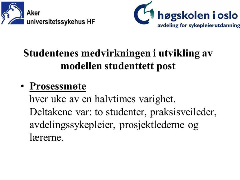 Studentenes medvirkning i utviklingen av modellen studenttett post Spørreskjemaer - S pørsmålene dreide seg om: –Egen læring og utvikling –Opplevelsen og erfaringen av å være student på en studenttett post.