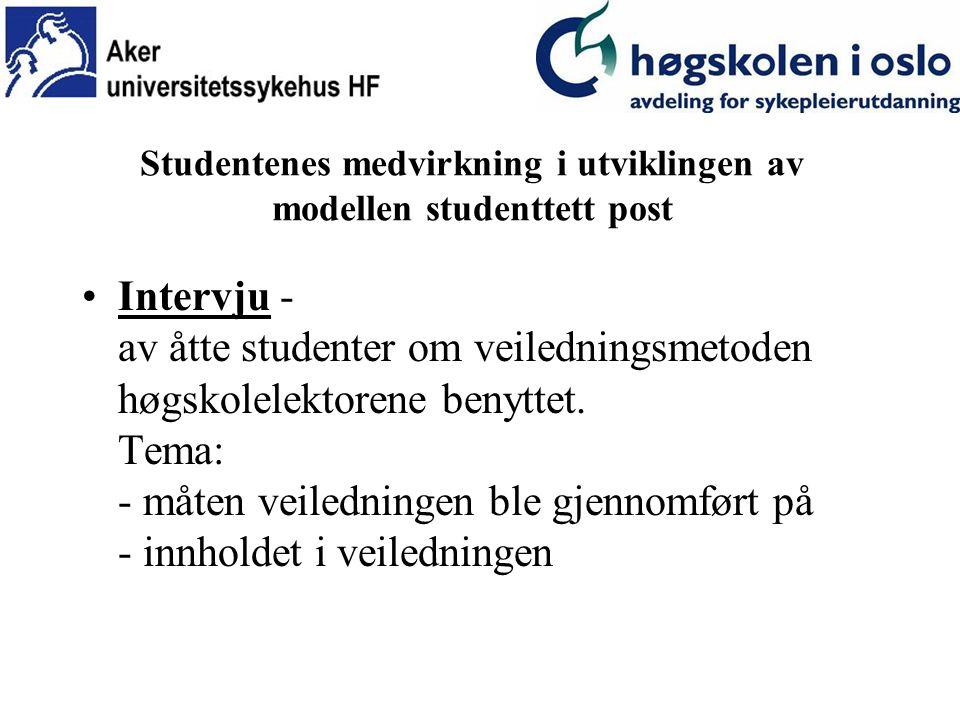 Studentenes medvirkning i utviklingen av modellen studenttett post Intervju - av åtte studenter om veiledningsmetoden høgskolelektorene benyttet.