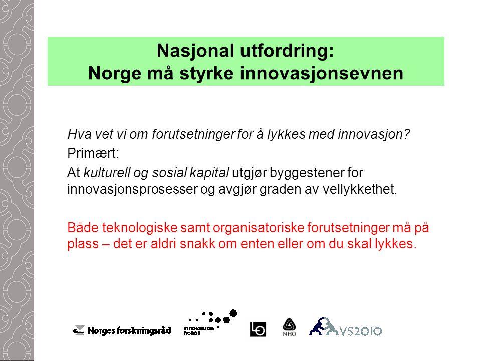 Nasjonal utfordring: Norge må styrke innovasjonsevnen Hva vet vi om forutsetninger for å lykkes med innovasjon.