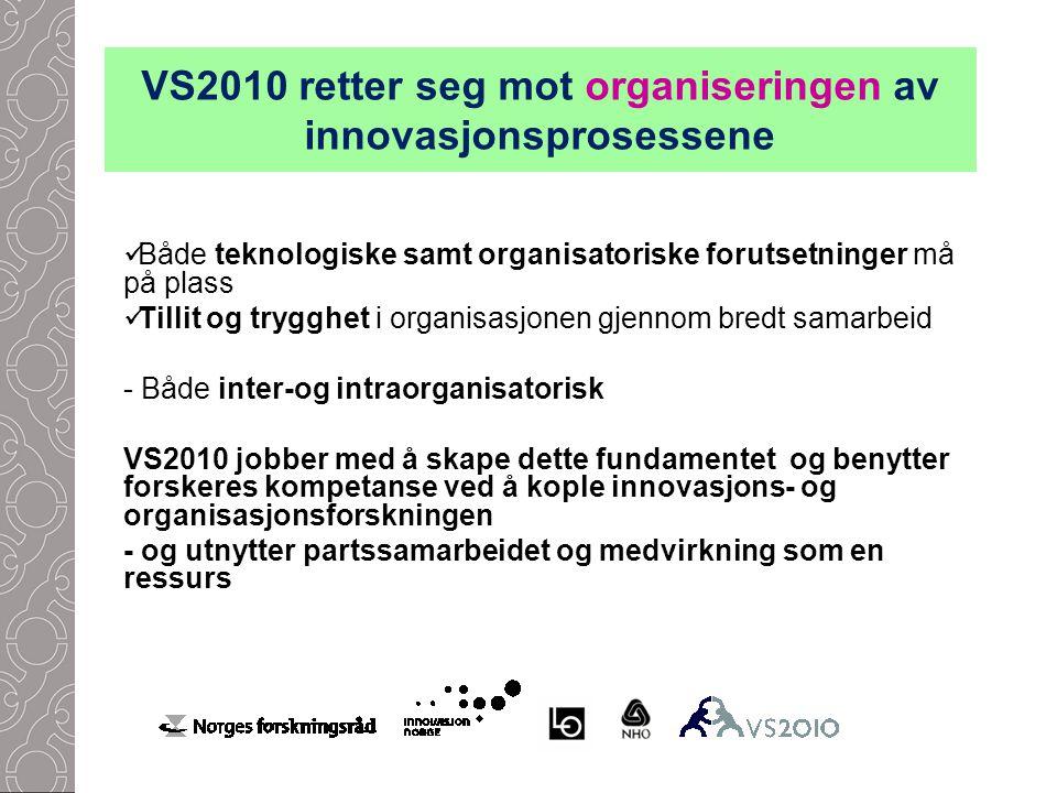 VS2010 retter seg mot organiseringen av innovasjonsprosessene Både teknologiske samt organisatoriske forutsetninger må på plass Tillit og trygghet i organisasjonen gjennom bredt samarbeid - Både inter-og intraorganisatorisk VS2010 jobber med å skape dette fundamentet og benytter forskeres kompetanse ved å kople innovasjons- og organisasjonsforskningen - og utnytter partssamarbeidet og medvirkning som en ressurs