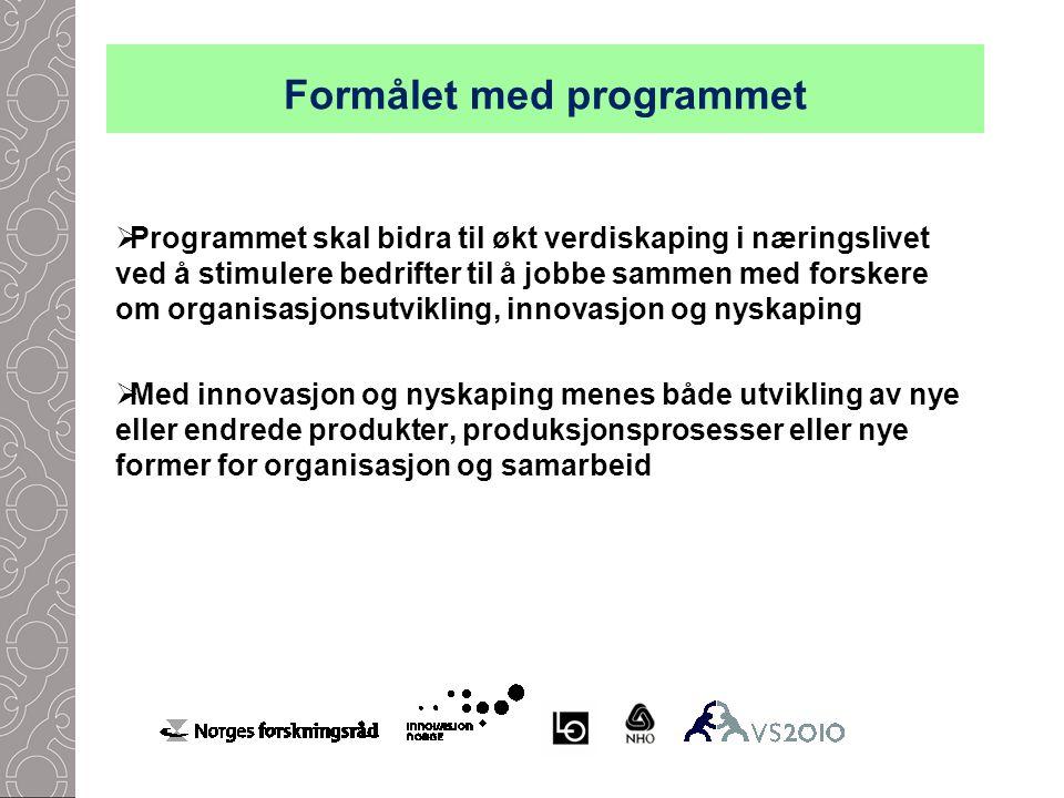Formålet med programmet  Programmet skal bidra til økt verdiskaping i næringslivet ved å stimulere bedrifter til å jobbe sammen med forskere om organisasjonsutvikling, innovasjon og nyskaping  Med innovasjon og nyskaping menes både utvikling av nye eller endrede produkter, produksjonsprosesser eller nye former for organisasjon og samarbeid