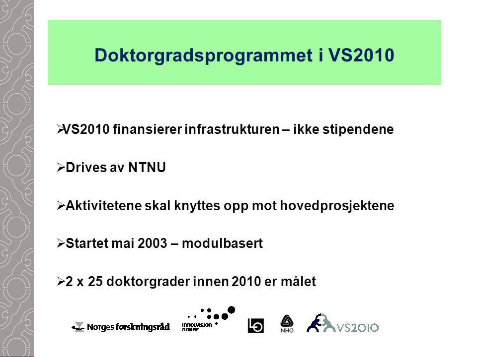  VS2010 finansierer infrastrukturen – ikke stipendene  Drives av NTNU  Aktivitetene skal knyttes opp mot hovedprosjektene  Startet mai 2003 – modulbasert  2 x 25 doktorgrader innen 2010 er målet Doktorgradsprogrammet i VS2010