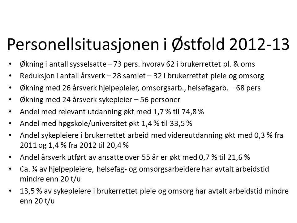 Personellsituasjonen i Østfold 2012-13 Økning i antall sysselsatte – 73 pers. hvorav 62 i brukerrettet pl. & oms Reduksjon i antall årsverk – 28 samle