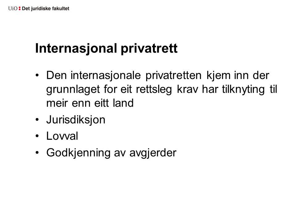 Internasjonal privatrett Den internasjonale privatretten kjem inn der grunnlaget for eit rettsleg krav har tilknyting til meir enn eitt land Jurisdiksjon Lovval Godkjenning av avgjerder