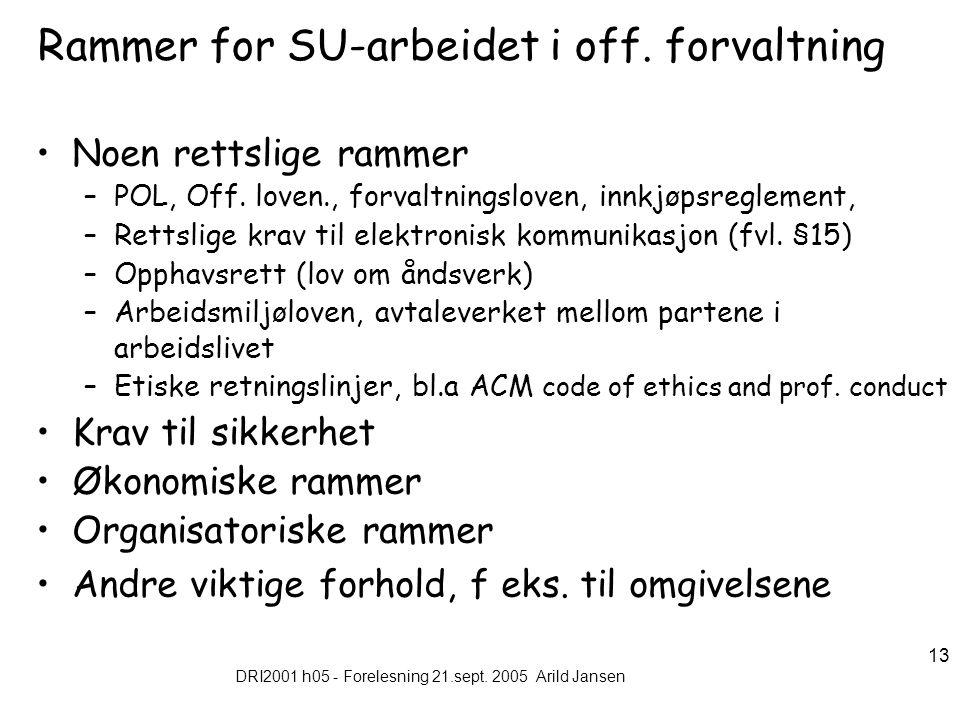 DRI2001 h05 - Forelesning 21.sept. 2005 Arild Jansen 13 Rammer for SU-arbeidet i off.