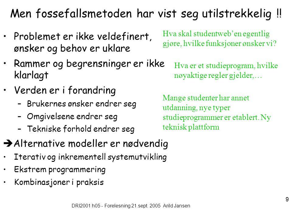DRI2001 h05 - Forelesning 21.sept.2005 Arild Jansen 10 Inkrementell systemutvikling 1.