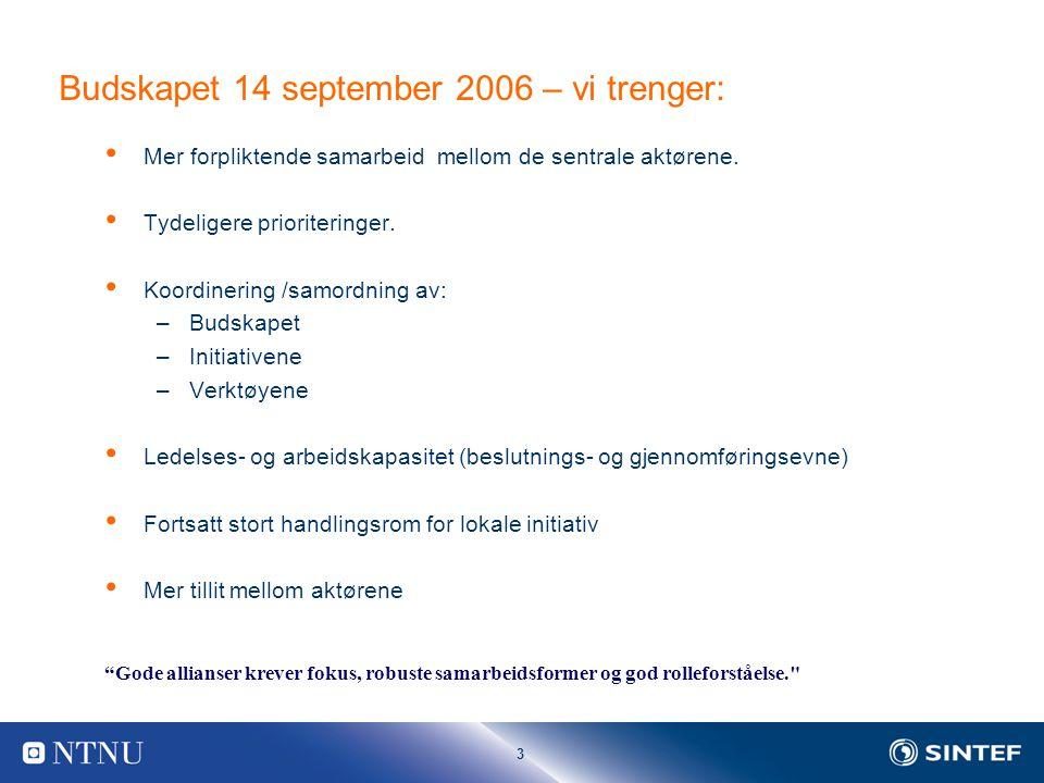 3 Budskapet 14 september 2006 – vi trenger: Mer forpliktende samarbeid mellom de sentrale aktørene.