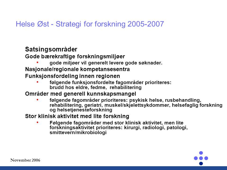 November 2006 Helse Øst - Strategi for forskning 2005-2007 Satsingsområder Gode bærekraftige forskningsmiljøer gode miljøer vil generelt levere gode søknader.