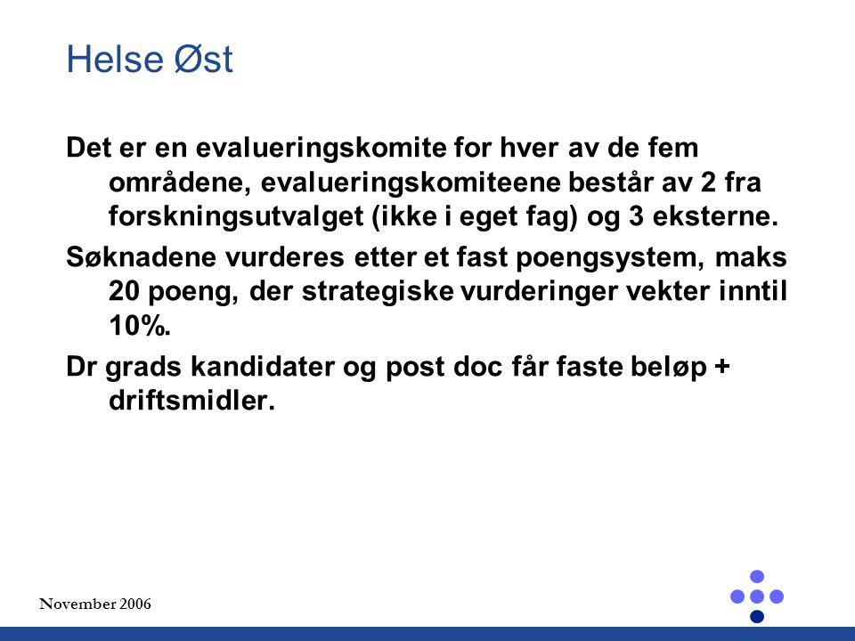November 2006 Helse Øst Det er en evalueringskomite for hver av de fem områdene, evalueringskomiteene består av 2 fra forskningsutvalget (ikke i eget fag) og 3 eksterne.