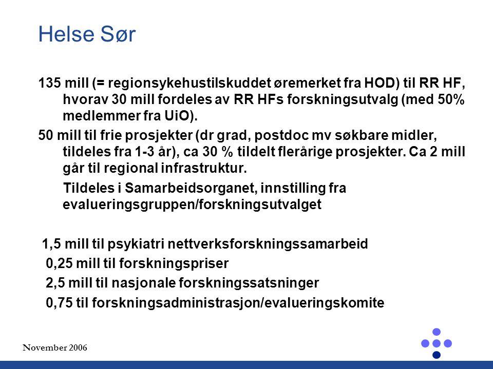 November 2006 Helse Sør 135 mill (= regionsykehustilskuddet øremerket fra HOD) til RR HF, hvorav 30 mill fordeles av RR HFs forskningsutvalg (med 50% medlemmer fra UiO).