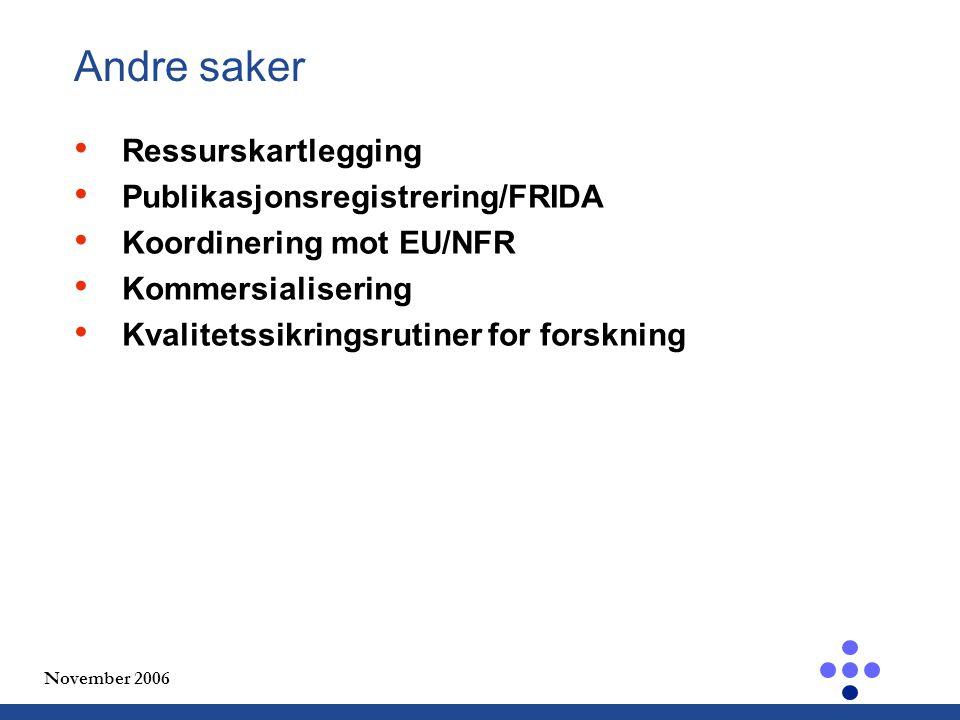 November 2006 Andre saker Ressurskartlegging Publikasjonsregistrering/FRIDA Koordinering mot EU/NFR Kommersialisering Kvalitetssikringsrutiner for forskning