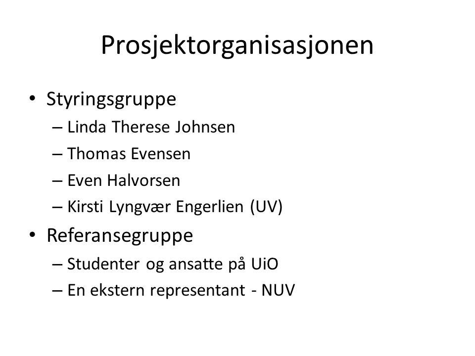 Prosjektorganisasjonen Styringsgruppe – Linda Therese Johnsen – Thomas Evensen – Even Halvorsen – Kirsti Lyngvær Engerlien (UV) Referansegruppe – Studenter og ansatte på UiO – En ekstern representant - NUV
