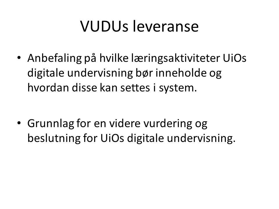 VUDUs leveranse Anbefaling på hvilke læringsaktiviteter UiOs digitale undervisning bør inneholde og hvordan disse kan settes i system.