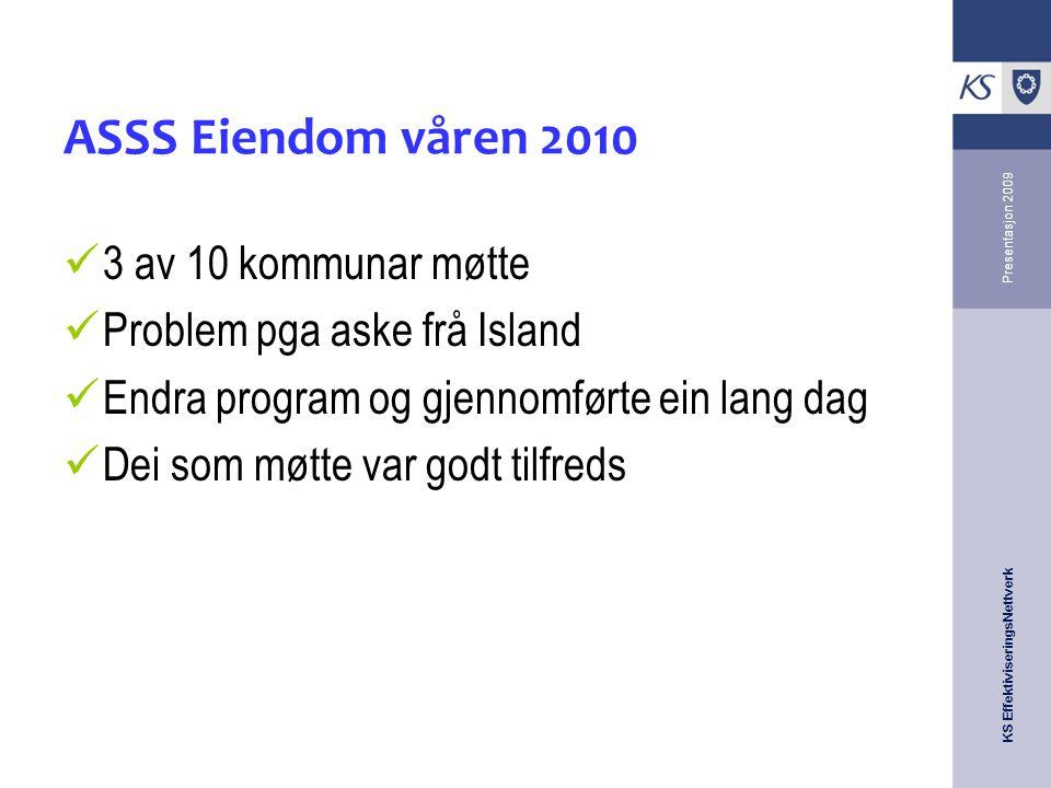 KS EffektiviseringsNettverk Presentasjon 2009 ASSS Eiendom våren 2010 3 av 10 kommunar møtte Problem pga aske frå Island Endra program og gjennomførte ein lang dag Dei som møtte var godt tilfreds