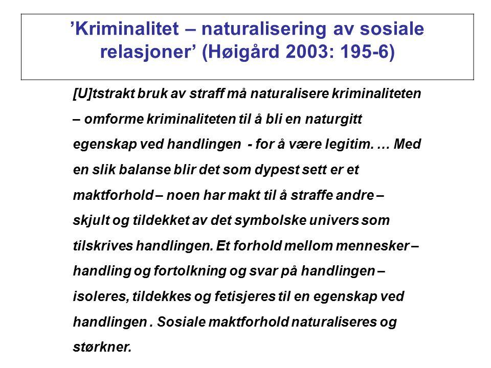 'Kriminalitet – naturalisering av sosiale relasjoner' (Høigård 2003: 195-6) [U]tstrakt bruk av straff må naturalisere kriminaliteten – omforme kriminaliteten til å bli en naturgitt egenskap ved handlingen - for å være legitim.