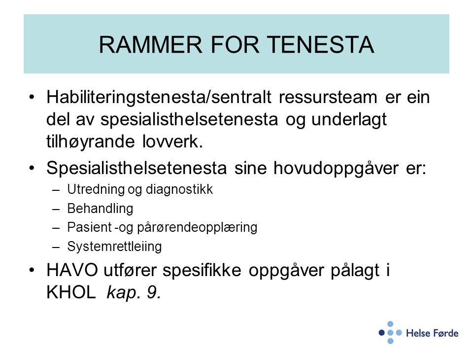 RAMMER FOR TENESTA Habiliteringstenesta/sentralt ressursteam er ein del av spesialisthelsetenesta og underlagt tilhøyrande lovverk. Spesialisthelseten