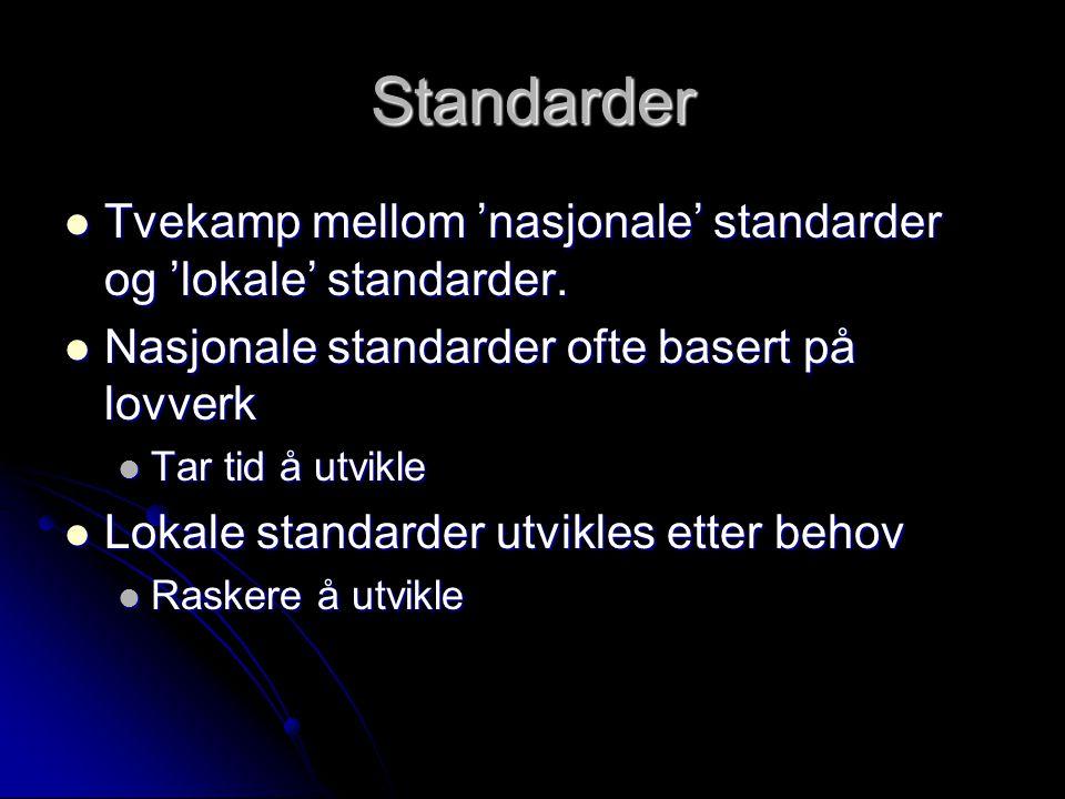 Standarder Tvekamp mellom 'nasjonale' standarder og 'lokale' standarder.