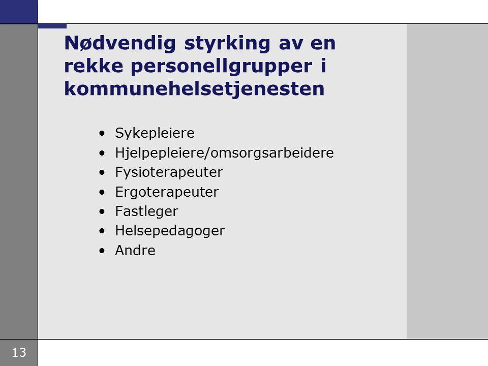13 Nødvendig styrking av en rekke personellgrupper i kommunehelsetjenesten Sykepleiere Hjelpepleiere/omsorgsarbeidere Fysioterapeuter Ergoterapeuter Fastleger Helsepedagoger Andre