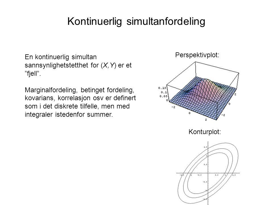 Kontinuerlig simultanfordeling En kontinuerlig simultan sannsynlighetstetthet for (X,Y) er et fjell .