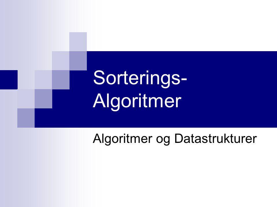 Sorterings- Algoritmer Algoritmer og Datastrukturer