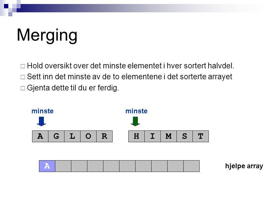 hjelpe array minste AGLORHIMST Merging  Hold oversikt over det minste elementet i hver sortert halvdel.