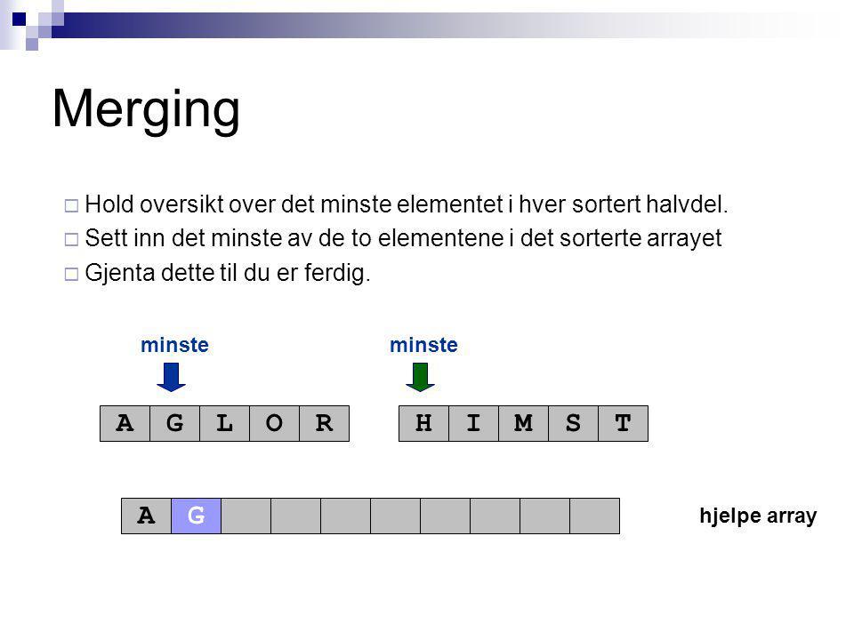 hjelpe array minste AGLORHIMST A Merging  Hold oversikt over det minste elementet i hver sortert halvdel.