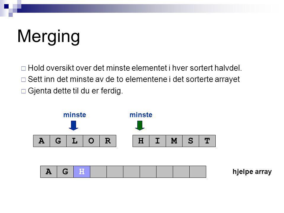 hjelpe array minste AGLORHIMST AG Merging  Hold oversikt over det minste elementet i hver sortert halvdel.