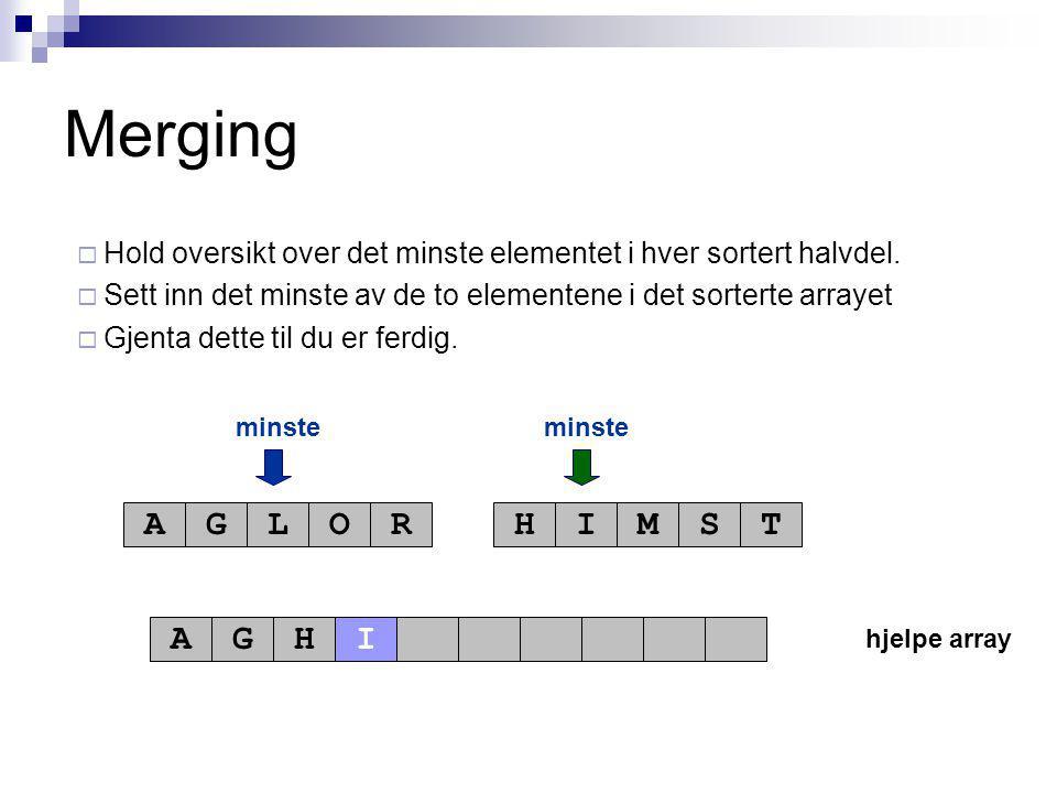 hjelpe array minste AGLORHIMST AGH Merging  Hold oversikt over det minste elementet i hver sortert halvdel.