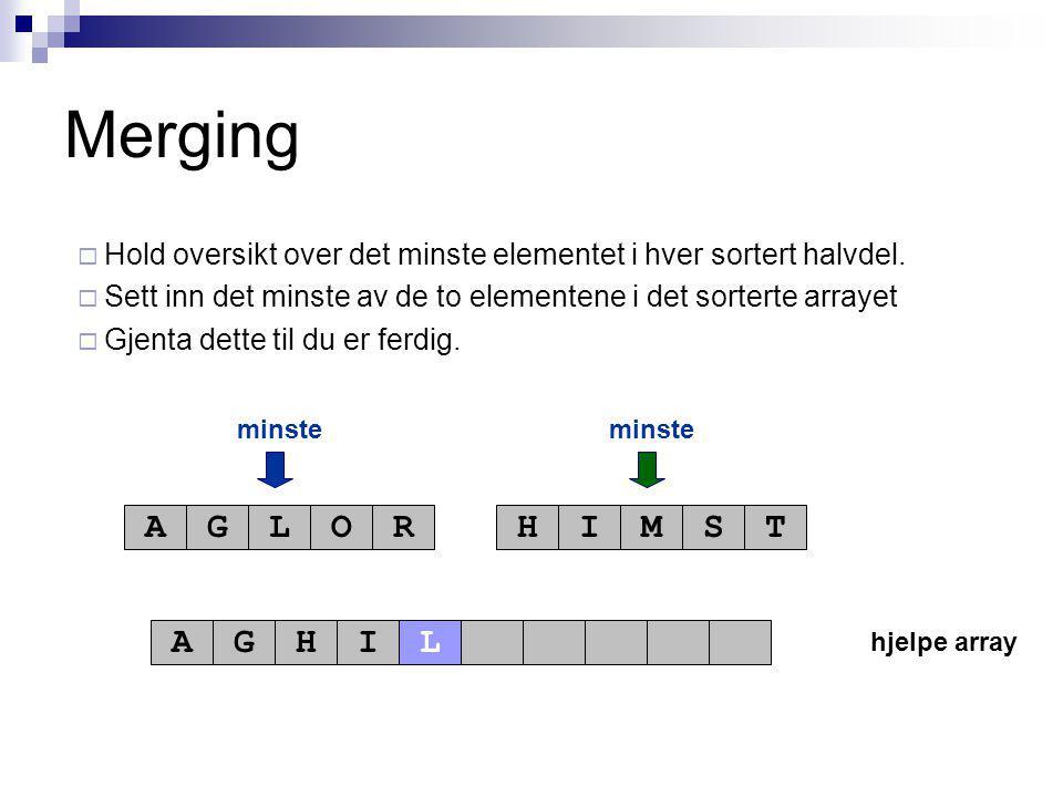 hjelpe array minste AGLORHIMST AGHI Merging  Hold oversikt over det minste elementet i hver sortert halvdel.