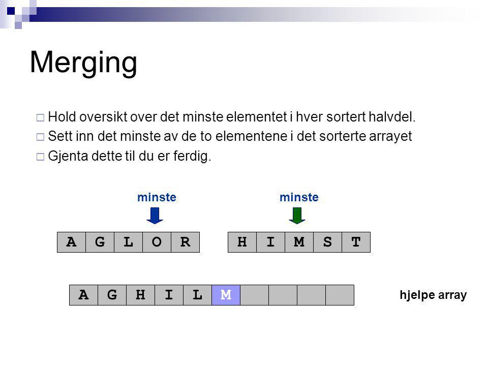 hjelpe array minste AGLORHIMST AGHIL Merging  Hold oversikt over det minste elementet i hver sortert halvdel.