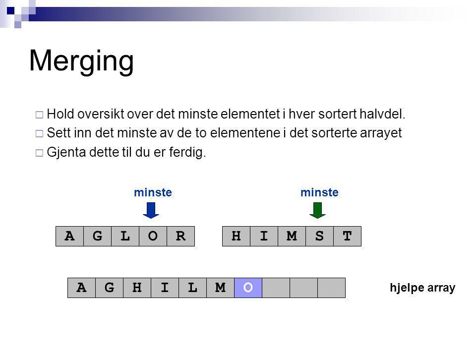 hjelpe array minste AGLORHIMST AGHILM Merging  Hold oversikt over det minste elementet i hver sortert halvdel.