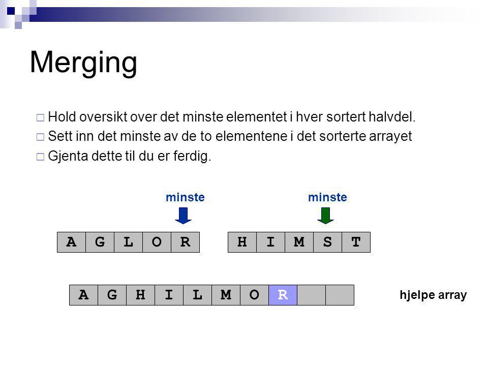 hjelpe array minste AGLORHIMST AGHILMO Merging  Hold oversikt over det minste elementet i hver sortert halvdel.