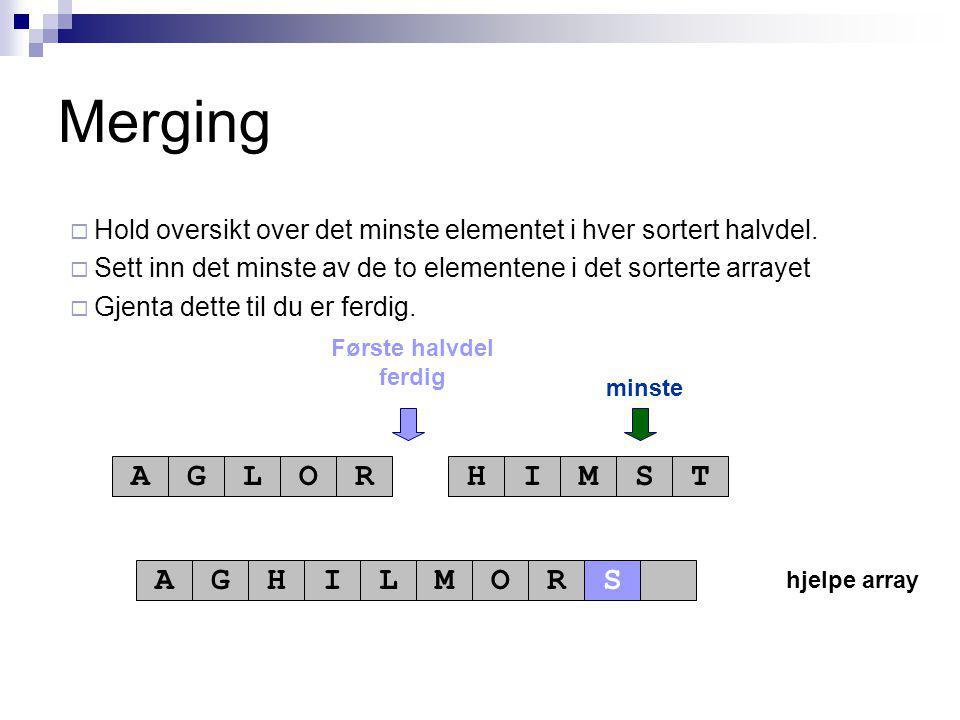 hjelpe array Første halvdel ferdig minste AGLORHIMST AGHILMOR Merging  Hold oversikt over det minste elementet i hver sortert halvdel.