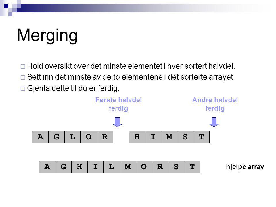 hjelpe array Første halvdel ferdig Andre halvdel ferdig AGLORHIMST AGHILMORST Merging  Hold oversikt over det minste elementet i hver sortert halvdel.