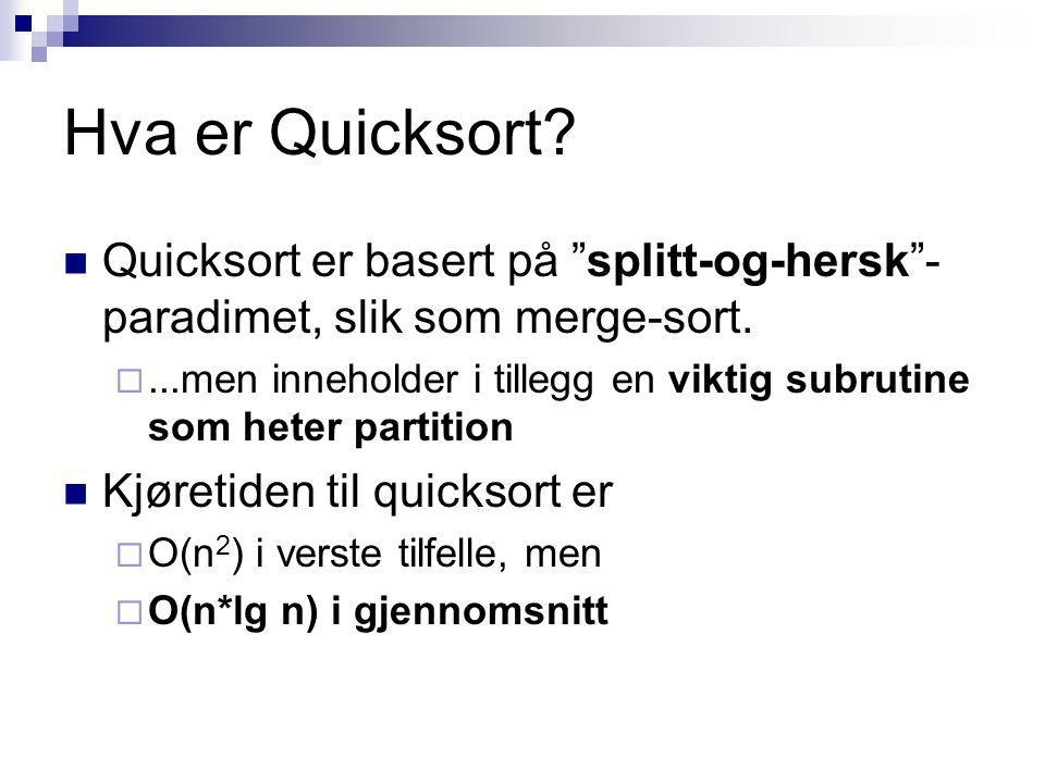 Hva er Quicksort. Quicksort er basert på splitt-og-hersk - paradimet, slik som merge-sort.