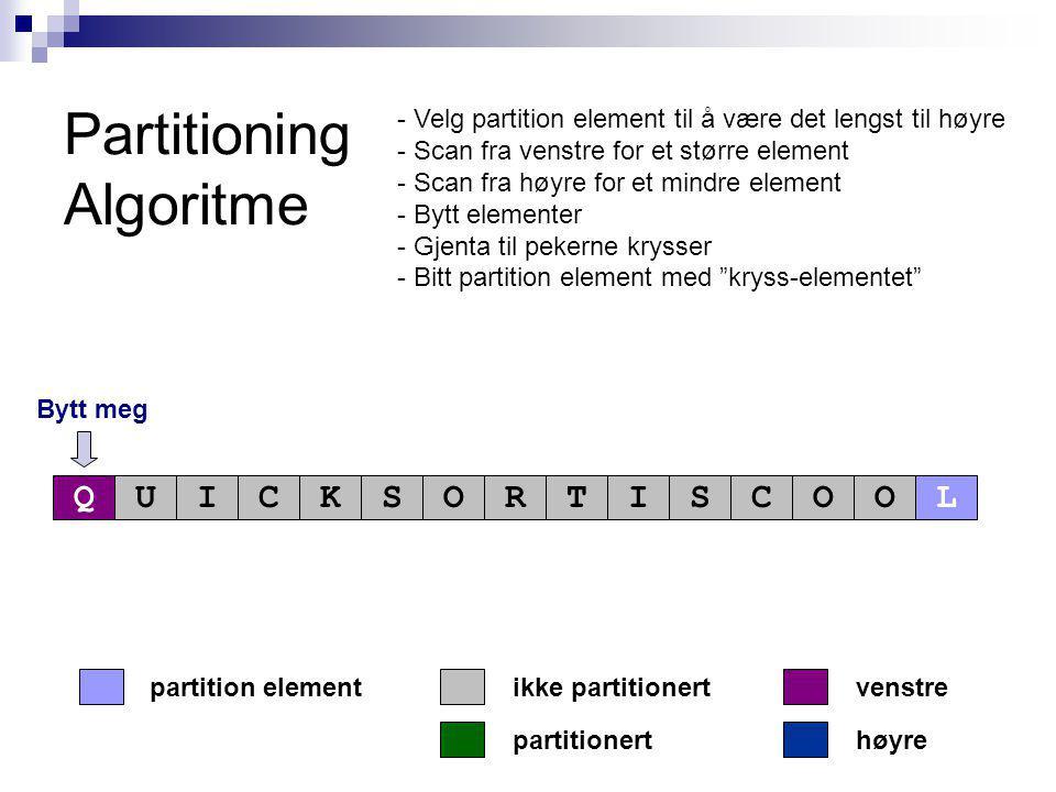 Partitioning Algoritme Bytt meg partitionert partition elementvenstre høyre ikke partitionert QUICKSORTISCOOL - Velg partition element til å være det lengst til høyre - Scan fra venstre for et større element - Scan fra høyre for et mindre element - Bytt elementer - Gjenta til pekerne krysser - Bitt partition element med kryss-elementet