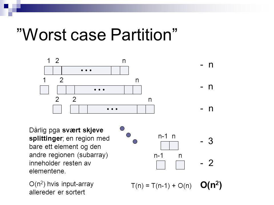 Worst case Partition 12n 2n 1 n 2 2n n-1 n T(n) = T(n-1) + O(n) - n - 3 - 2 O(n 2 ) Dårlig pga svært skjeve splittinger; en region med bare ett element og den andre regionen (subarray) inneholder resten av elementene.