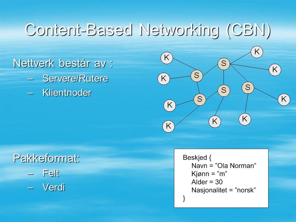 Content-Based Networking (CBN) Nettverk består av : –Servere/Rutere –Klientnoder Pakkeformat: –Felt –Verdi