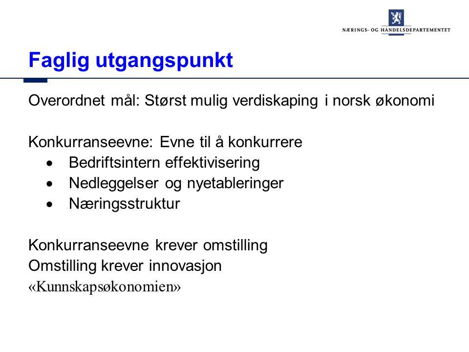Faglig utgangspunkt Overordnet mål: Størst mulig verdiskaping i norsk økonomi Konkurranseevne: Evne til å konkurrere  Bedriftsintern effektivisering