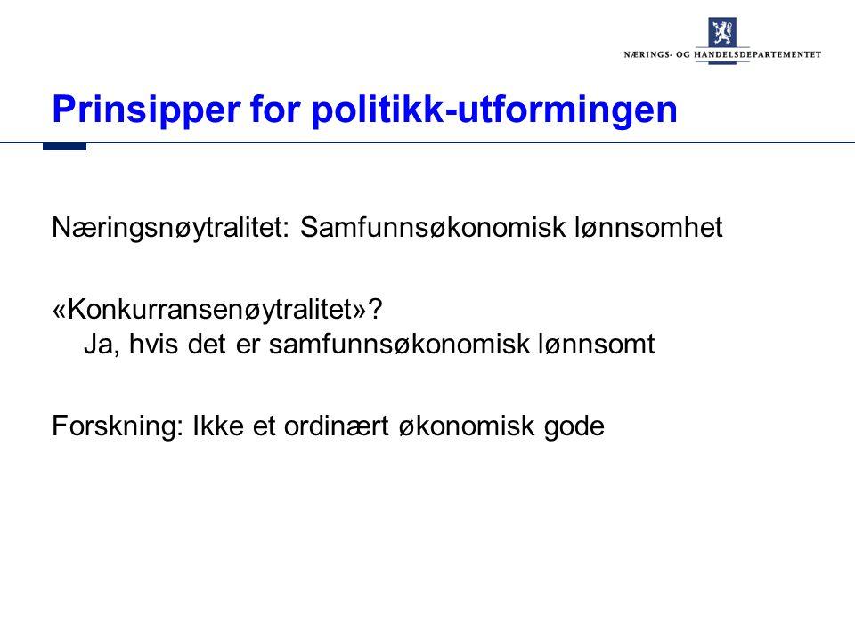 Prinsipper for politikk-utformingen Næringsnøytralitet: Samfunnsøkonomisk lønnsomhet «Konkurransenøytralitet».