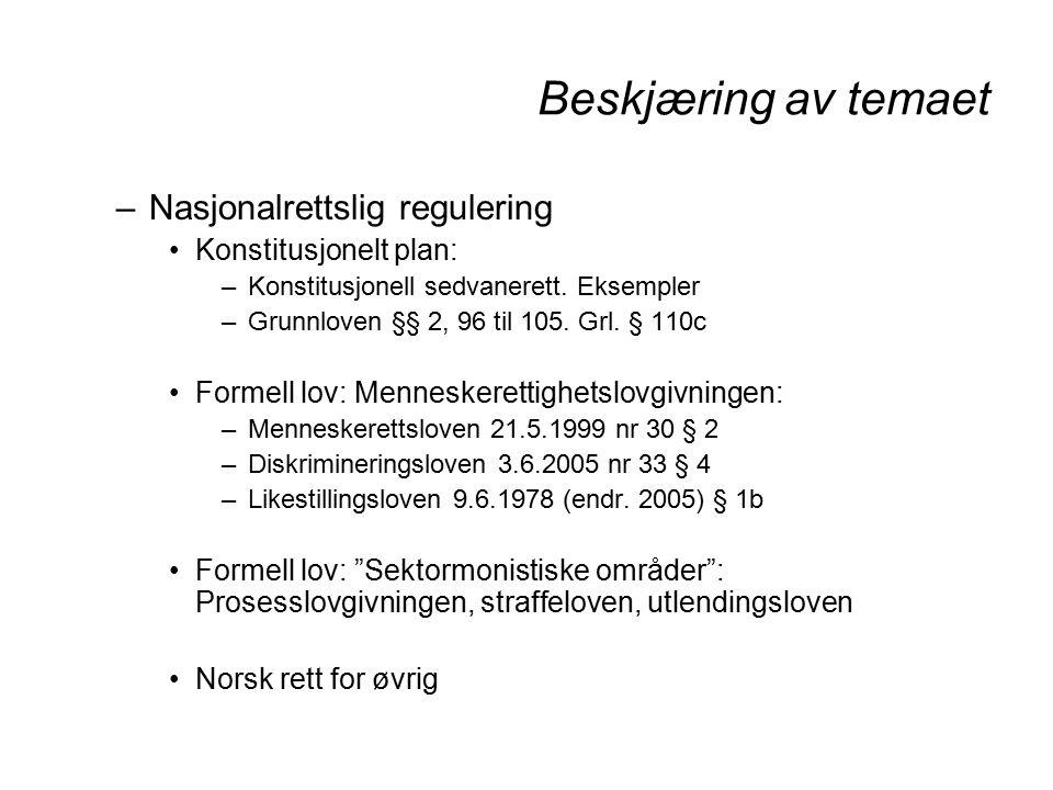 Beskjæring av temaet –Nasjonalrettslig regulering Konstitusjonelt plan: –Konstitusjonell sedvanerett.