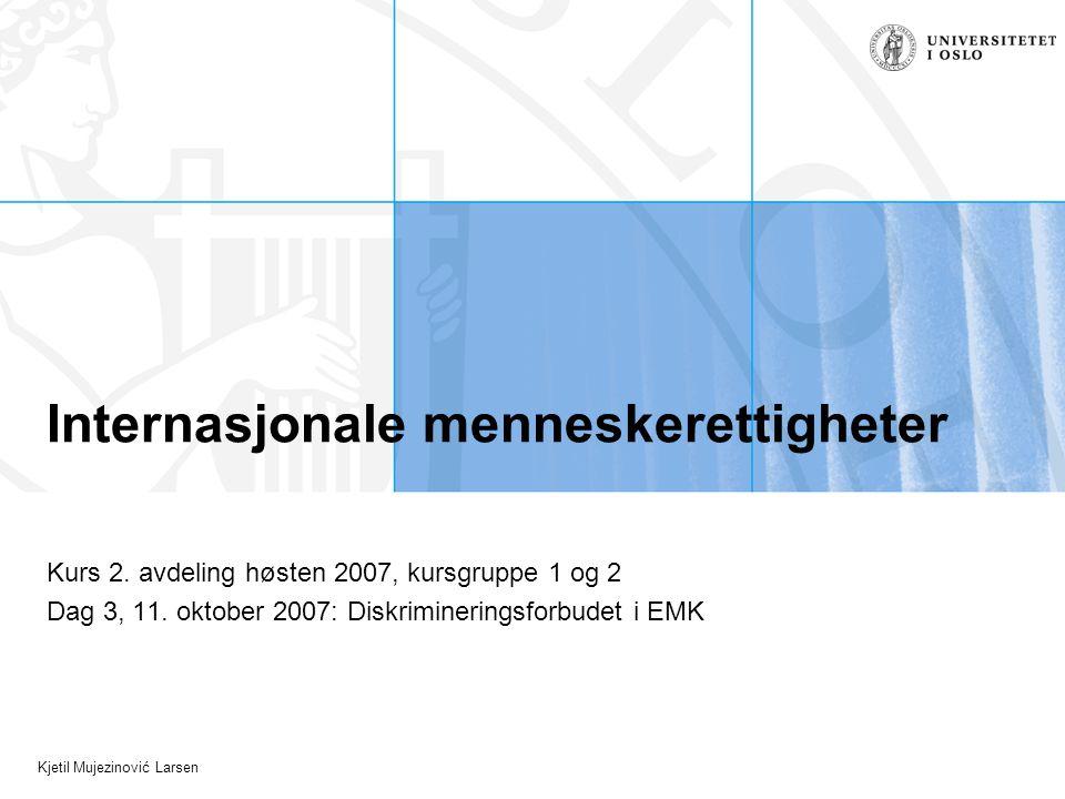Kjetil Mujezinović Larsen Internasjonale menneskerettigheter Kurs 2. avdeling høsten 2007, kursgruppe 1 og 2 Dag 3, 11. oktober 2007: Diskrimineringsf