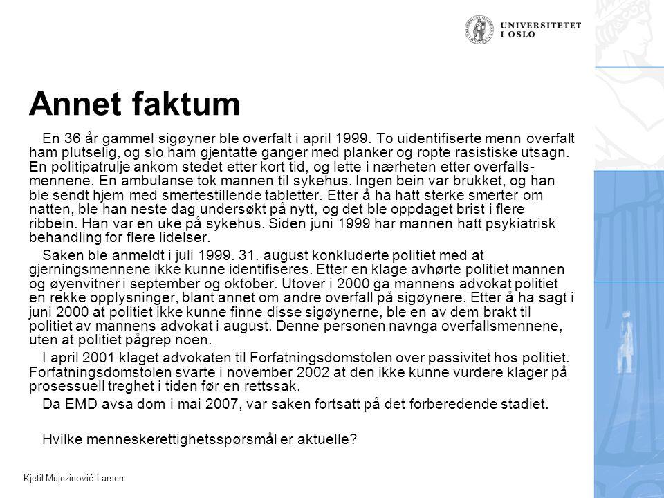 Kjetil Mujezinović Larsen Annet faktum En 36 år gammel sigøyner ble overfalt i april 1999. To uidentifiserte menn overfalt ham plutselig, og slo ham g