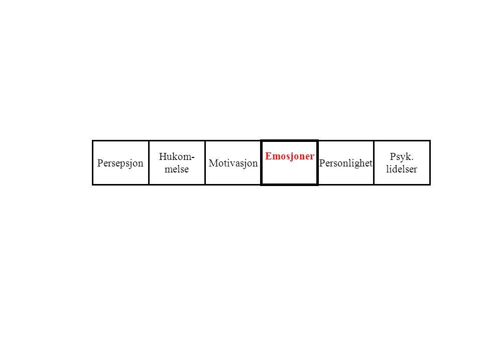 Motivasjon Emosjoner Hukom- melse PersepsjonPersonlighet Psyk. lidelser