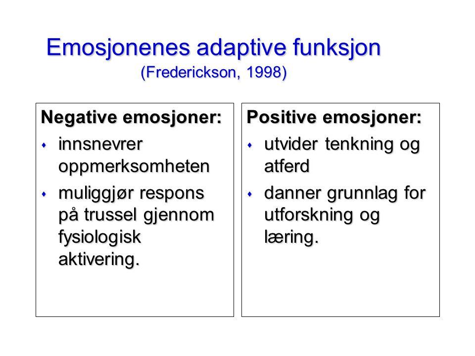 Emosjonenes adaptive funksjon (Frederickson, 1998) Negative emosjoner: s innsnevrer oppmerksomheten s muliggjør respons på trussel gjennom fysiologisk