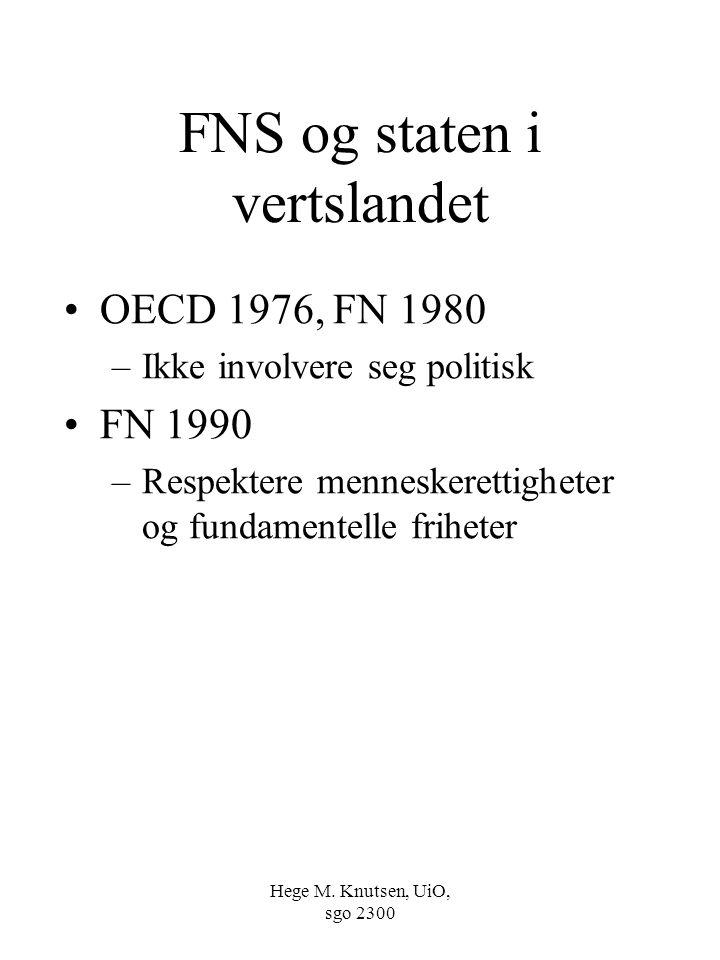 Hege M. Knutsen, UiO, sgo 2300 FNS og staten i vertslandet OECD 1976, FN 1980 –Ikke involvere seg politisk FN 1990 –Respektere menneskerettigheter og